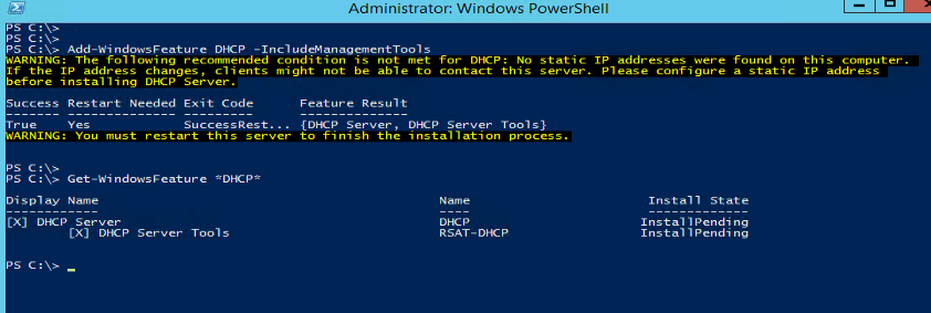 Add-WindowsFeature DHCP –IncludeManagementTools