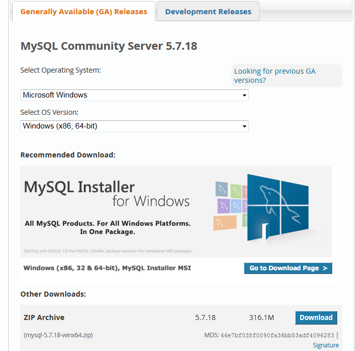 MySQL для Windows