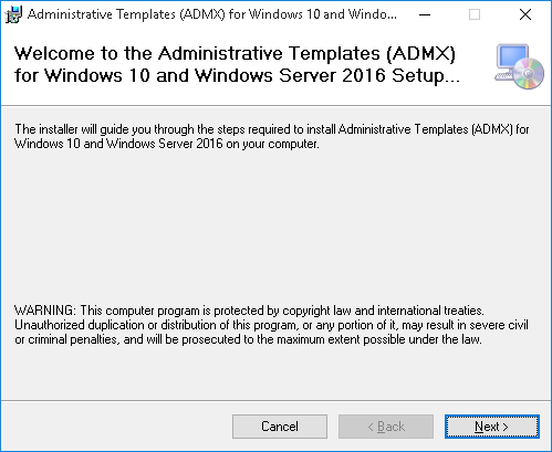 Administrative Templates (.admx) for Windows 10 and Windows Server 2016