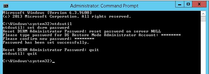 Вход на контроллер домена под локальным аккаунтом DSRM