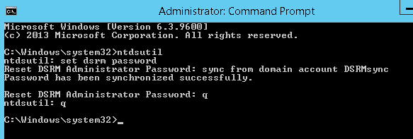 set dsrm password sync from domain account DSRMsync