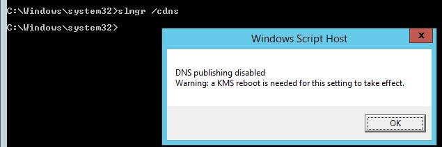 Отключение автоматической публикации KMS сервера в DNS