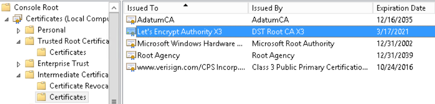 сертификат Let's Encrypt Authority X3