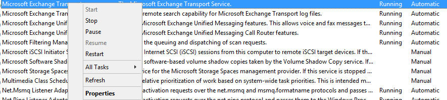 служба Microsoft Exchange Transport
