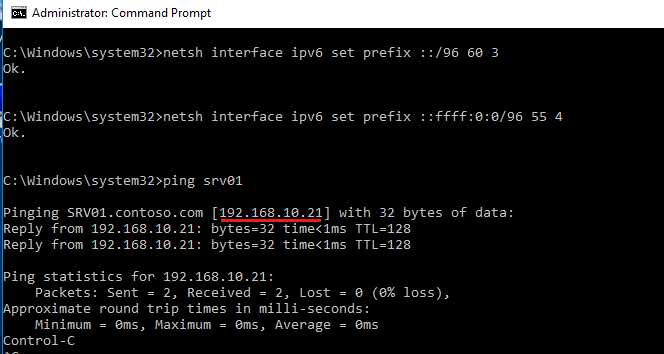 netsh interface ipv6 set prefix ::/96 60 3