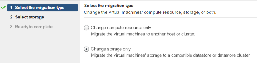 Change storage only - тип миграции