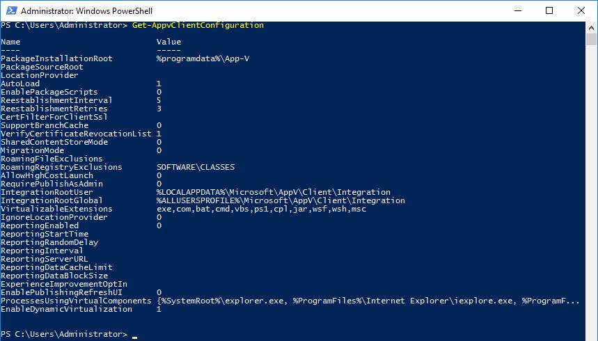 Get-AppvClientConfiguration