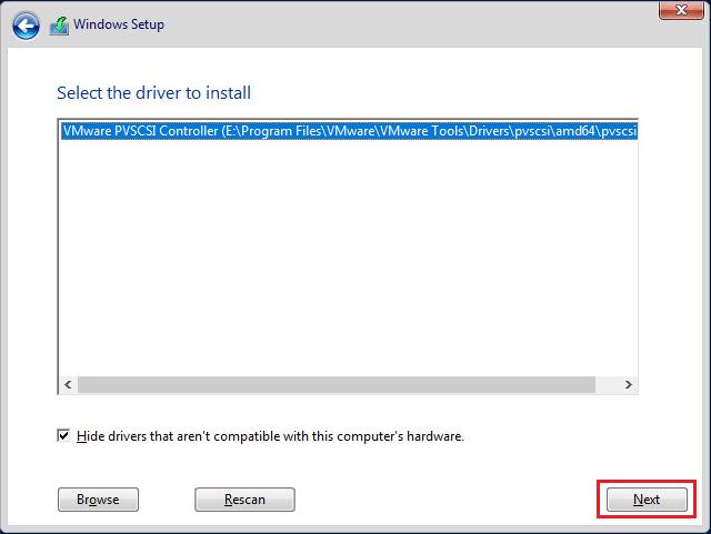 установка драйвера VMware PVSCSI контроллера