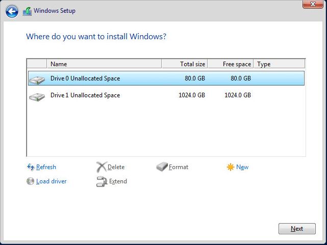 установщик Windows Server 2016 определил диски