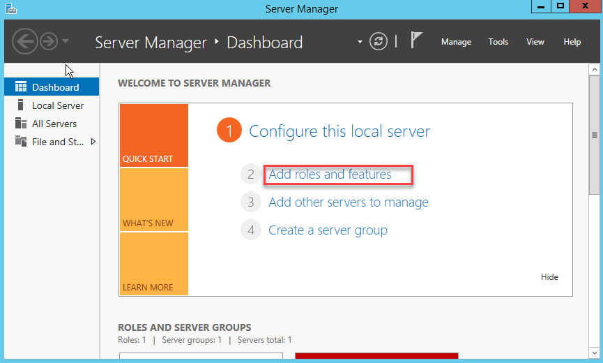 Add roles and features - Windows Server