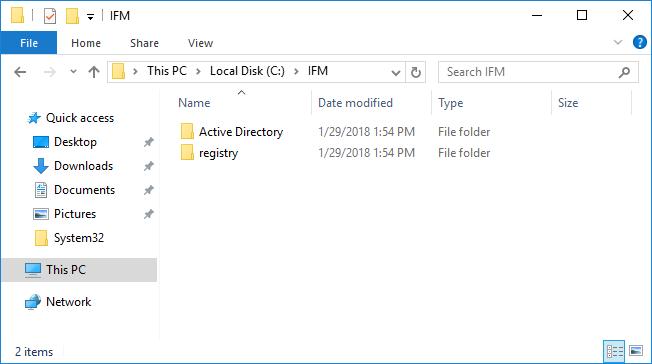 каталог с файлами для усановки контроллера домена в режиме Install From Media (IFM)
