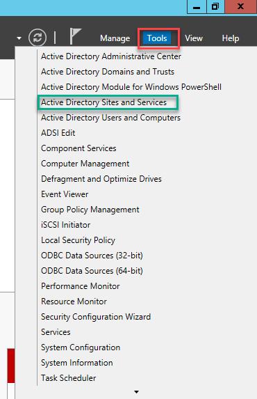 консоль управления сайтами AD - Active directory sites and services