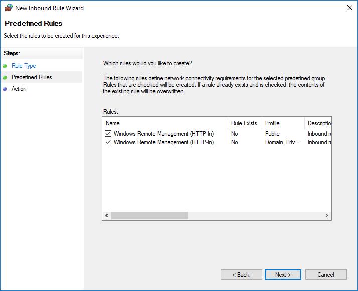правила брандмауэра для службы Windows Remote Management