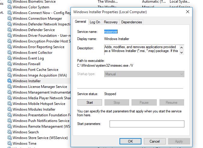 служба msiserver - Windows Installer (Установщик Windows)