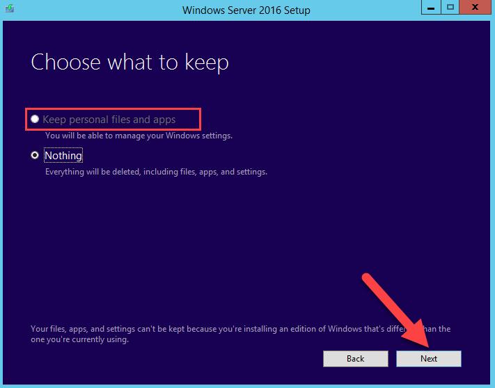 сохранить файлы и приложения старой версии Windows Server - Keep personal files and apps