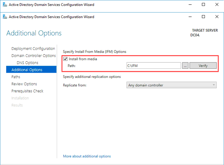 установка контроллера домена AD из файлов носителя