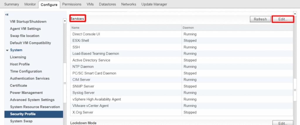 vCenter список запущенных служб на хосте (Services)