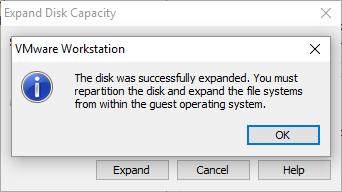 виртуальный диск увеличен