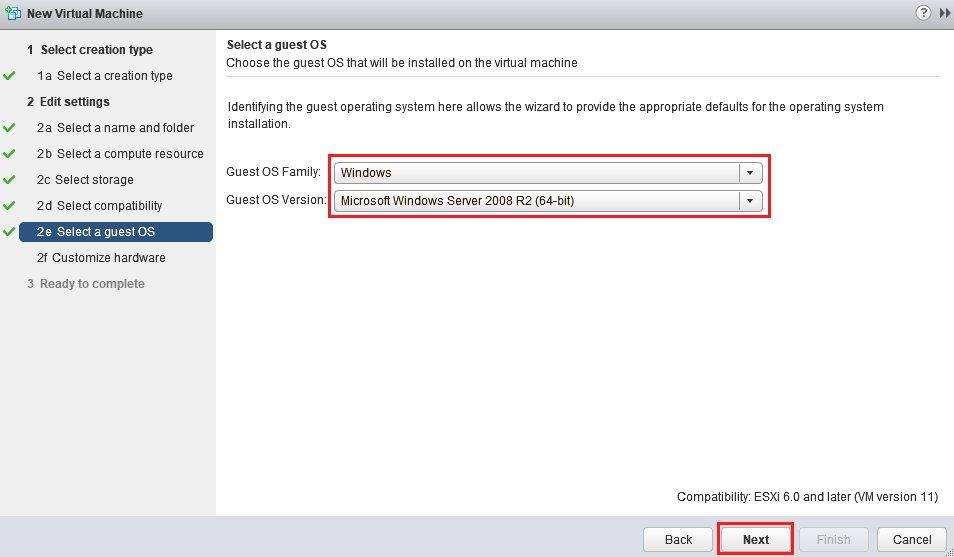 выбор типа гостевой ОС в виртулаьной машине
