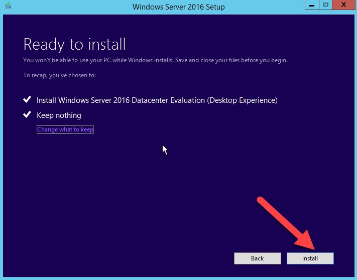 запуск установки Windows Server 2016