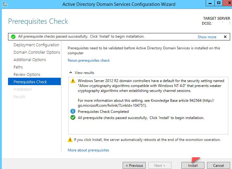 Запустите установку дополнительного контроллера домена