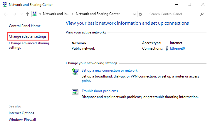 Change adapter settings Windows Server 2016