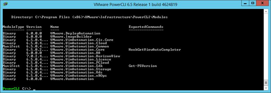 список доступных модуелей PowerCLI