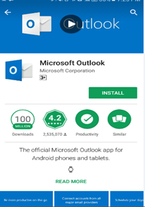 установка приложения Microsoft Outlook в android