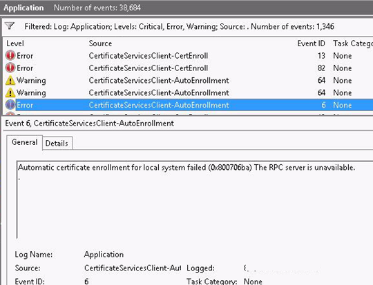 Automatic certificate enrollment for local system failed (0x800706ba) The RPC server is unavailable.