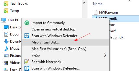 подключение vmdk файлов в window