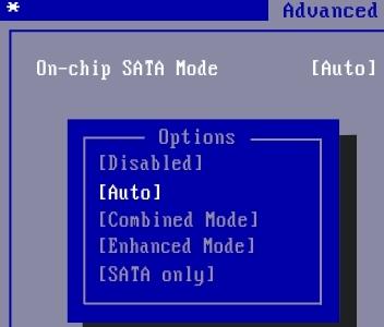 On-Chip SATA mode - режим SATA контроллера
