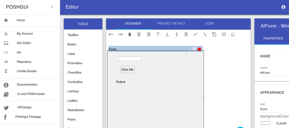 poshgui - онлайн генератор редактор графических форм для powershell