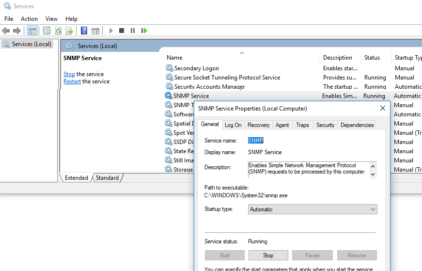 SNMP служба в windows 10