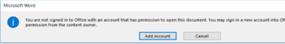 You are not signed in Office with an account that has permissions to open this document
