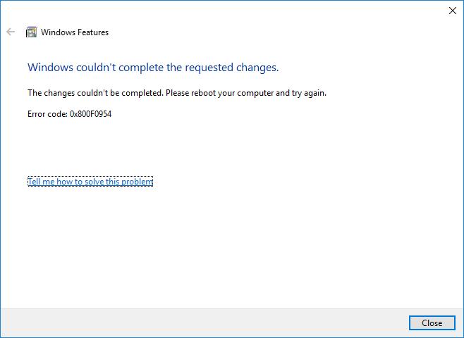 0x800F0954 - ошибка установки .NET Framework 3.5