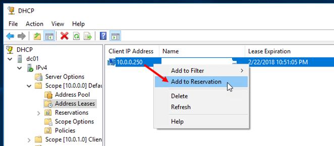 Добавить уже выданный адрес в резервацию DHCP