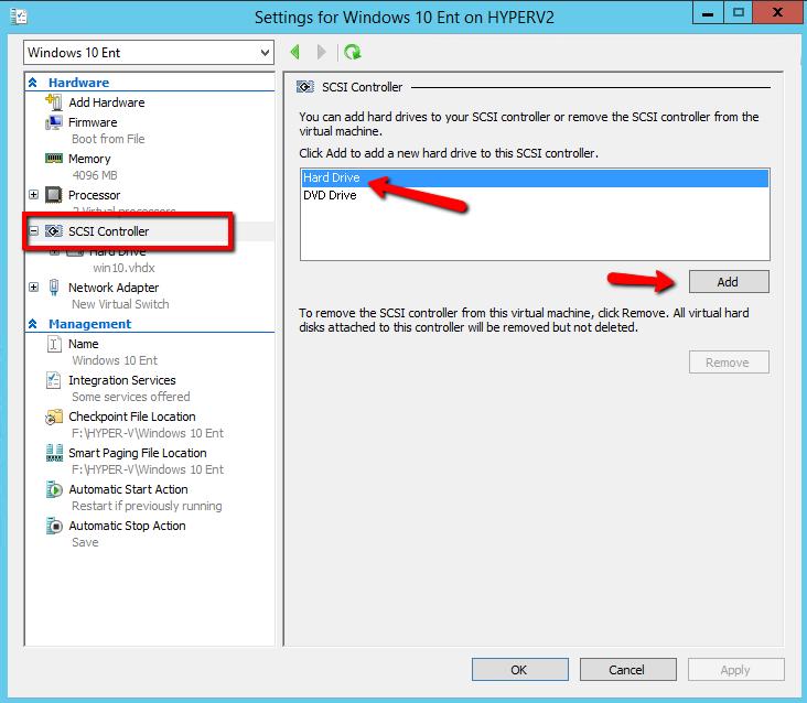 Добавить виртуальный диск в ВМ на hyper-v