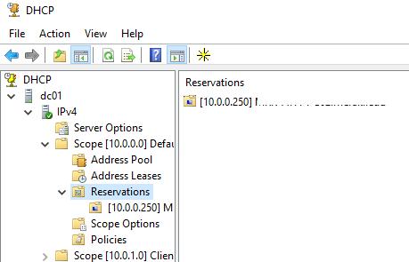 Новая DHCP резервация на Windows Server 2016