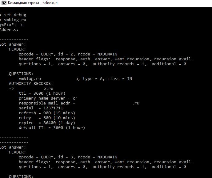 nslookup set debug - расширенная dns информация о домене