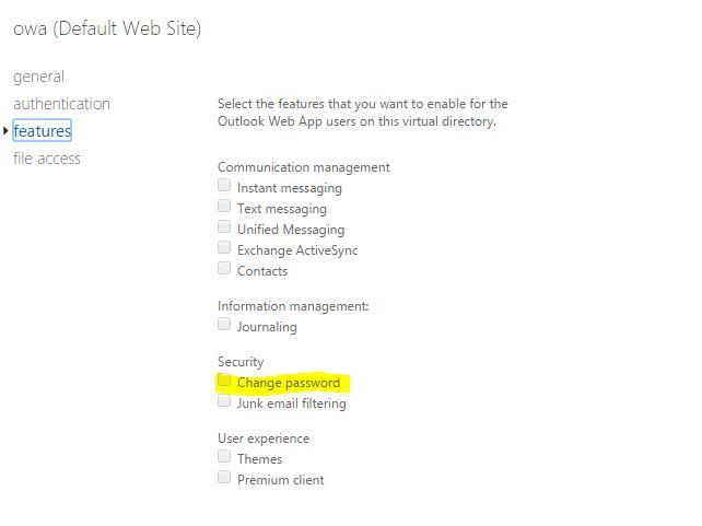 OWA - запретить пользователю менять пароль через веб интрефейс
