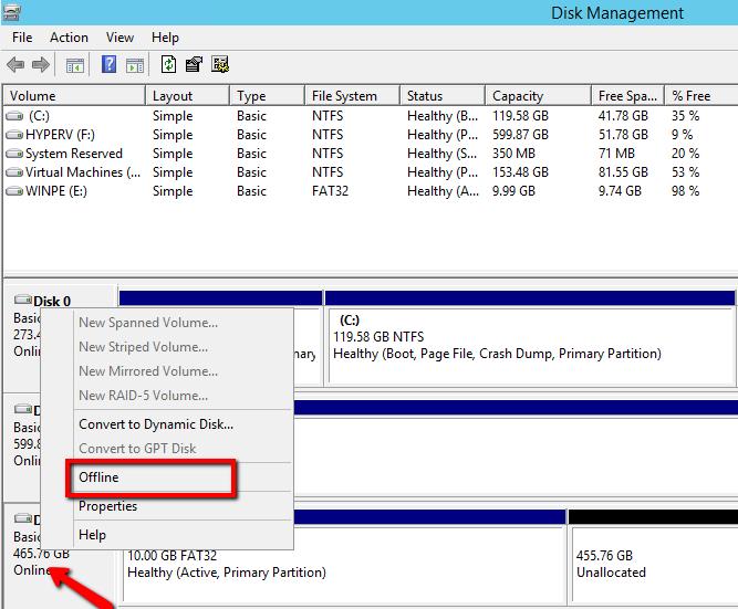 Перевести USB диск в офлайн режим