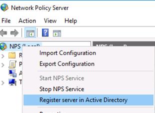 Register радиус server in Active Directory