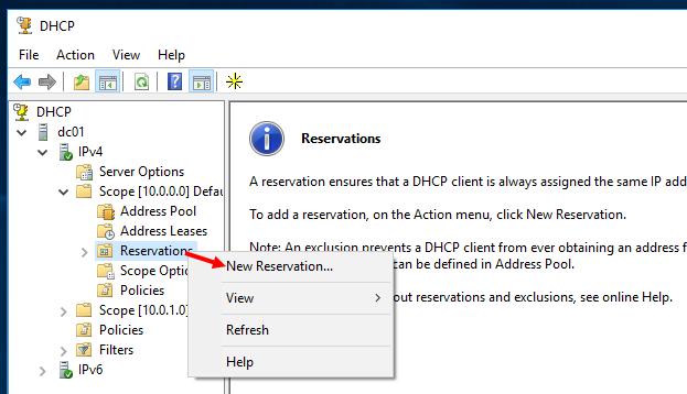 Создать вручную новую резервацию DHCP