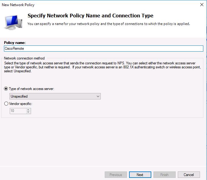 Тип сервера доступа к сети Unspecified