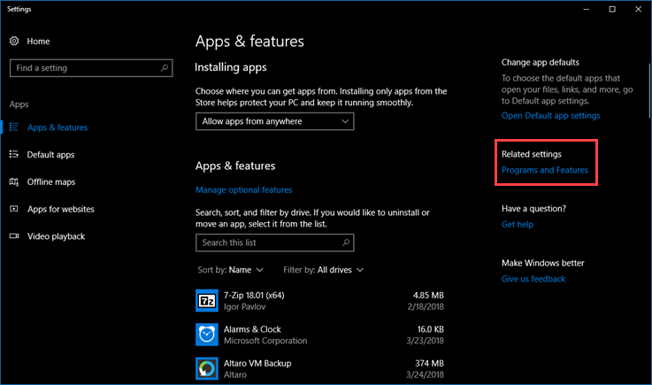 Установка компонентов Windows 10