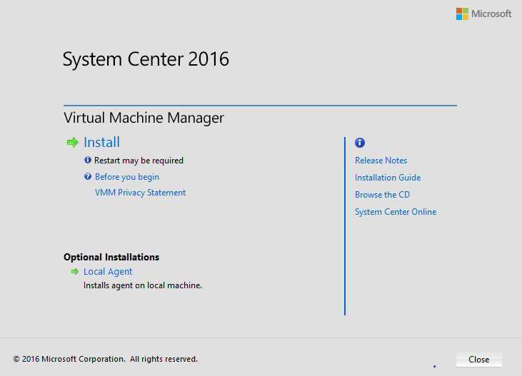 установка System Center Virtual Machine Manager) 2016
