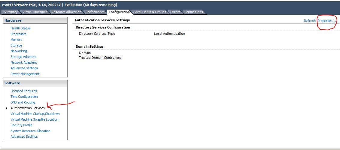 Вкладка Configuration в ESXi 4.1