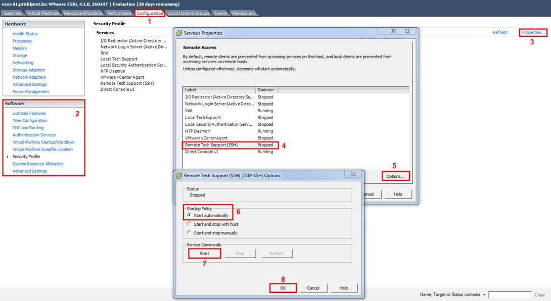 Включаем SSH через vSphere Client