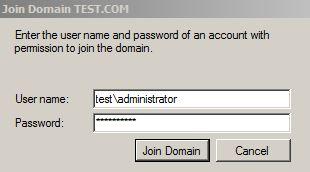 Учетная запись с правами на добавление в домен AD