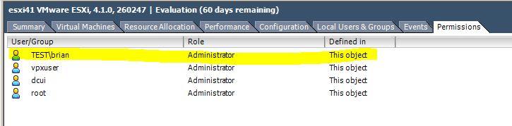 Список пользователей сервера ESX